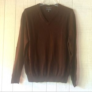Club Room Estate Merino WOOL Sweater Brown V-Neck